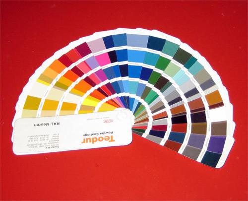 foto van poedercoat kleuren